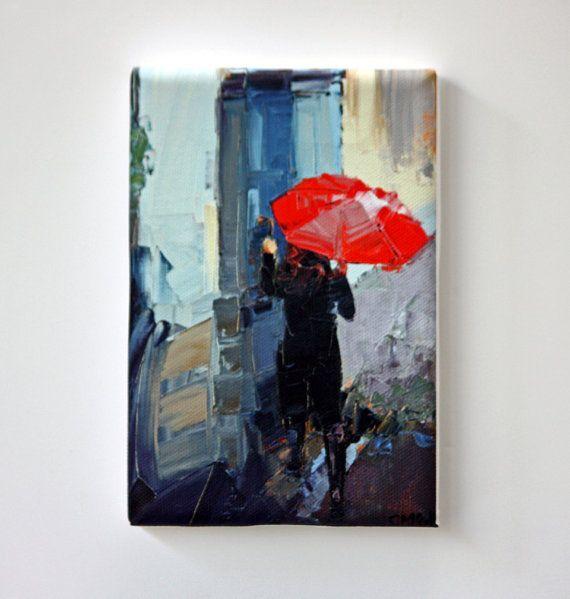 Tiny Canvas  Red Umbrella  Child Art  Canvas by ClaireMcCallArt