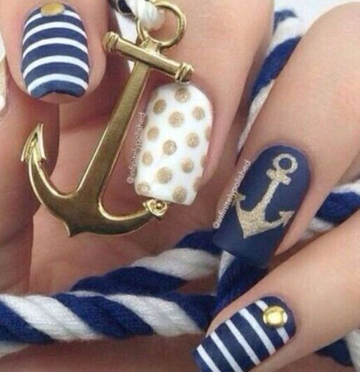 Anchor Navy blue and gold nails