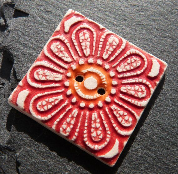 Ceramic Button Square Shape With Red With Orange by craftysewnsews