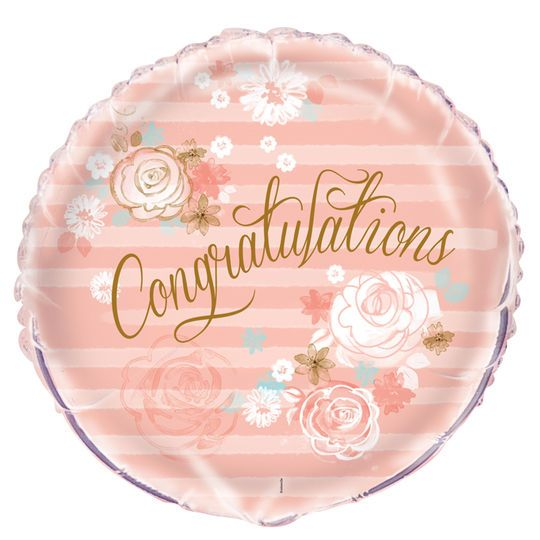 Foil Gold And Pink Floral Congratulations Balloon, 18""