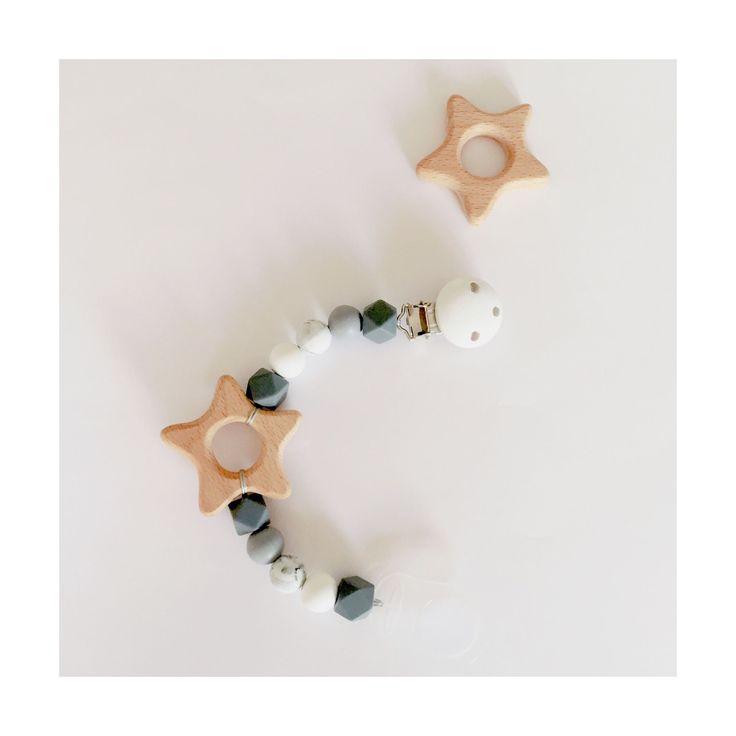 Attache tétine double : en bois naturel et en plastique (idéale pour les tétines Mam ou Chicco) - perles en silicone sans BPA