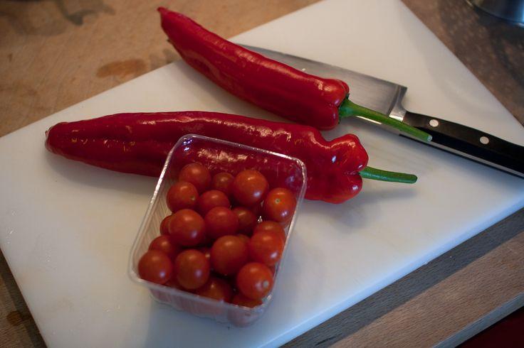 Babyhapje van paprika, tomaat en bataat