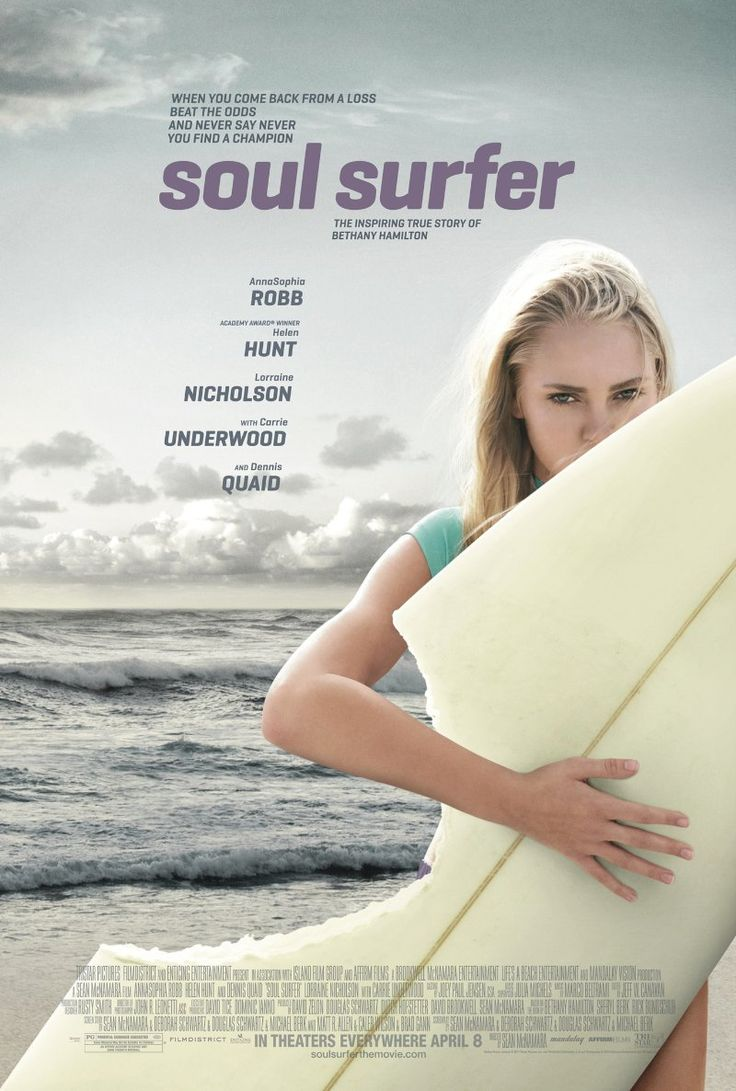 Soul Surfer -- SOUL SURFER is the inspiring true story of teen surfer Bethany Hamilton, who lost her arm in a shark attack and courageously overcame all odds to become a champion again, through her sheer determination and unwavering faith.  really good movie:)