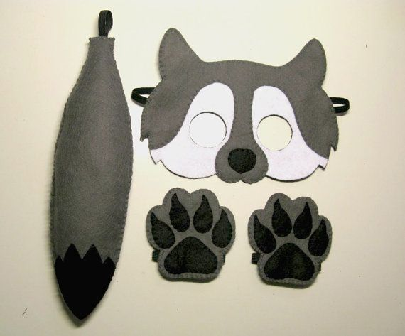 Wolf felt mask tail paws set for kids 2-10 years Grey White Black felt handmade forest animal costume - Dress up play - Theatre roleplay