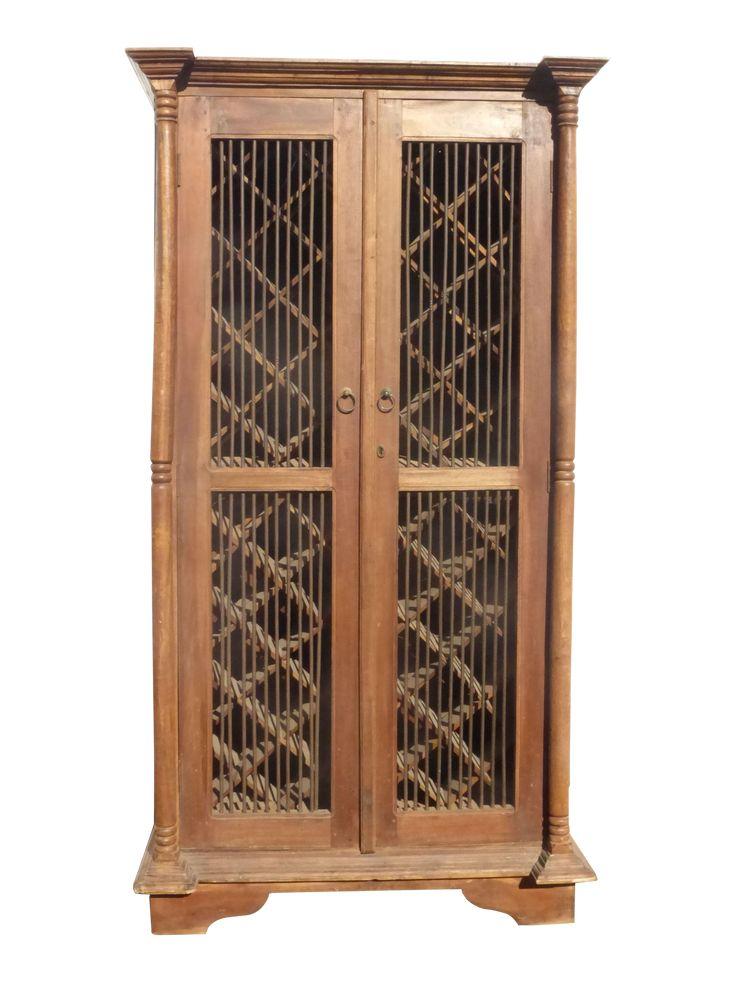 Teak wood rustic spanish style wine rack cabinet wine for Sideboard 2 50 m