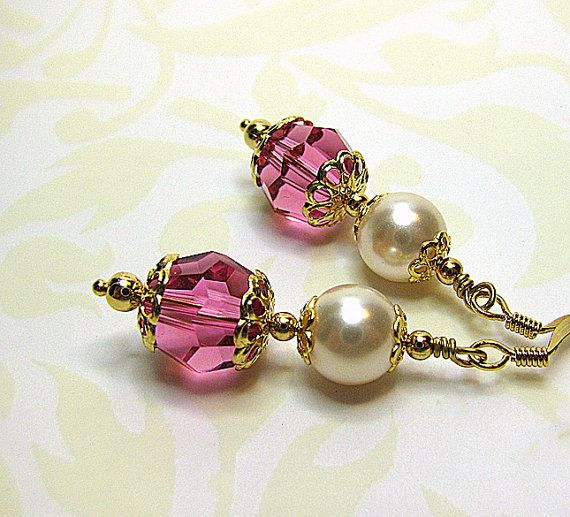 Swarovski pearl and rose pink crystal earrings