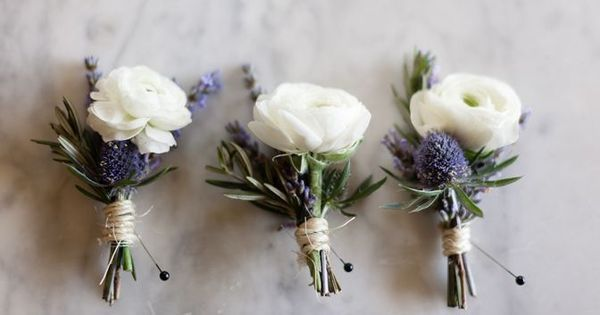 White ranunculus and thistle buttonholes, tied with twine. | Ever After | Pinterest | White Ranunculus, Thistles and Ranunculus