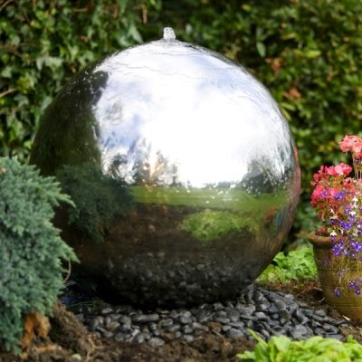 60cm Sphere Stainless Steel Water Feature with LED Lights.