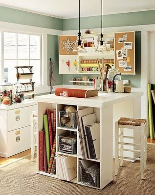 Craft room in basement decor idea