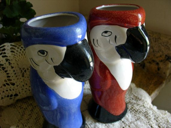 Retro Kitsch Parrot Vases Blue And Red Sculptural by Jjantiq