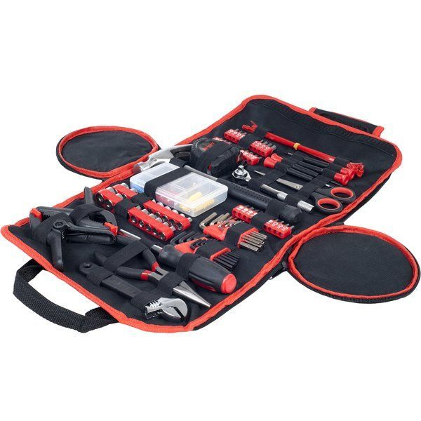 The Stalwart 86 Piece Tool Kit has everything you need for basic repairs at home, the office or the car! The durable and compact roll up bag contains so many tools like a hammer, pliers, screwdriver bit/socket set, useful clamps and more!