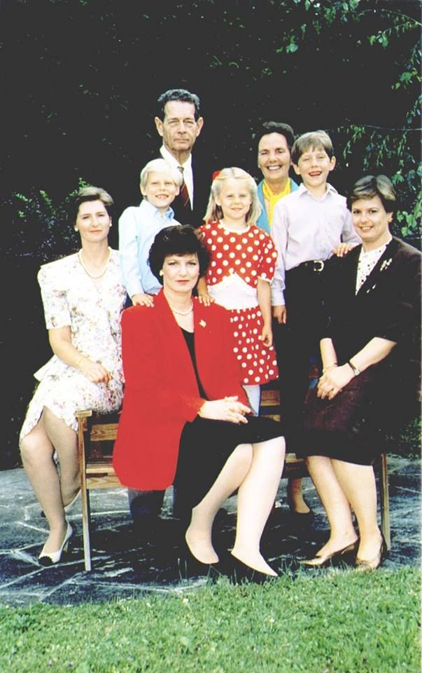 King Michael of Romania and Queen Ana together with their daughters (Crown Princess Margarita of Romania, Princess Elena of Romania, and Princess Irina of Romania) and their granchildren (Prince Nicholas of Romania, Mihai, and Angelica)