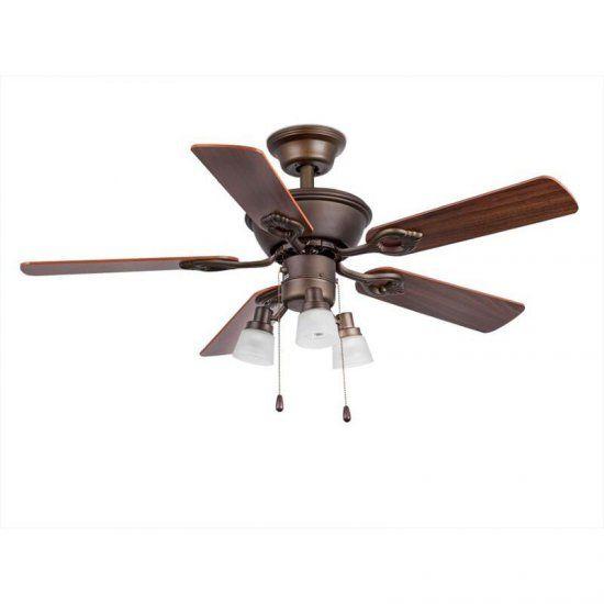 Stropní ventilátor se světlem MAEWO, tmavě hnědá