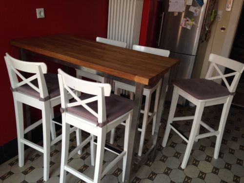 bartisch ikea utby mit 5 barhockern ikea ingolf in. Black Bedroom Furniture Sets. Home Design Ideas