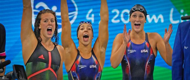 Team United States celebrate winning the Womens 4 x 200m Freestyle Relay Final on Day 5 of the Rio 2016 Olympic Games