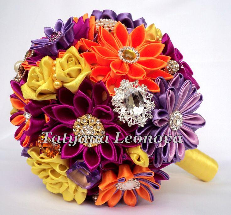 Fabric Wedding Bouquet Brooch bouquet fuchsia orange by LIKKO