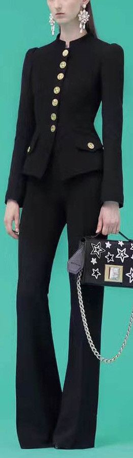 Black Paneled Button-Embellished Jacket & Pant Set