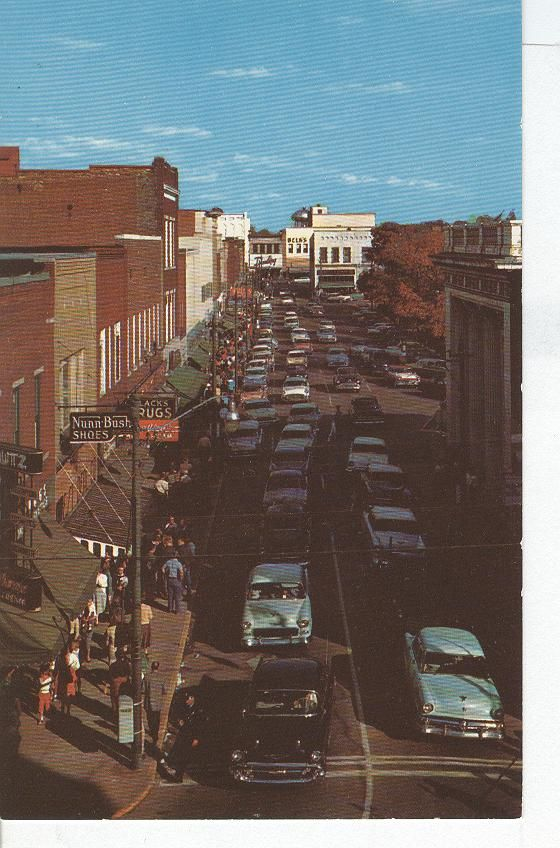 Old Postcard Showing Downtown Shopping Area Hickory NC 1950s