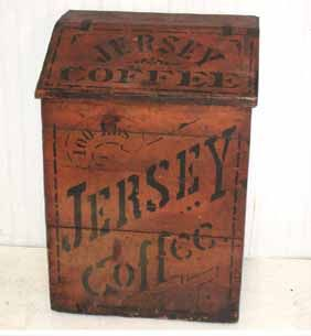 "Vintage Wooden Boxes for Sale | 100lb Wood Store Lid Box ""Jersey Coffee"" red paint 