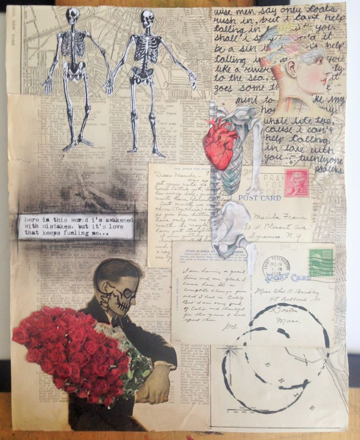 This 9th grade female student from Fort Myers, Florida expressed an intense interest for mixed media and book arts. On her own, she found old stamps, atlases and skeleton cut outs from thrift and consignment stores. Using various techniques she began exploring text combined with imagery and mixed media techniques.