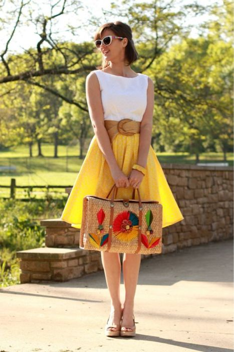 can't wait for spring!Summer Dresses, Fashion, Summer Looks, Summer Outfit, Summer Style, Yellow Skirts, Spring Outfit, Bags, White Tops