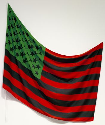 "African-American Flag  David Hammons (American, born 1943) MOMA    1990. Dyed cotton, 56"" x 7' 4"" (142.2 x 223.5 cm). Gift of The Over Holland Foundation. © 2011 David Hammons  296.1997"