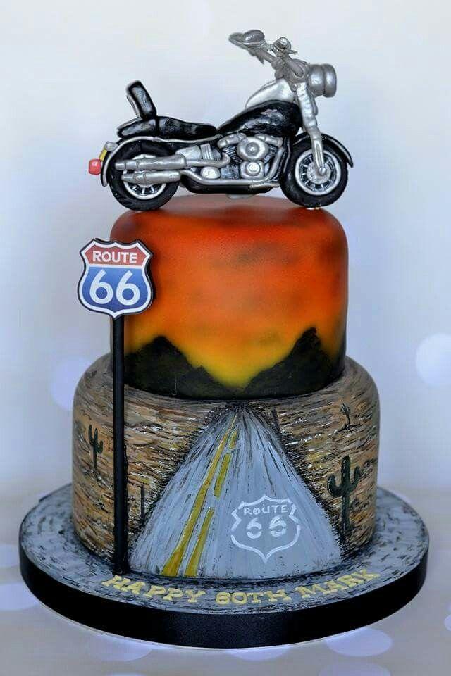 Airbrushed Route 66 Motorbike cake