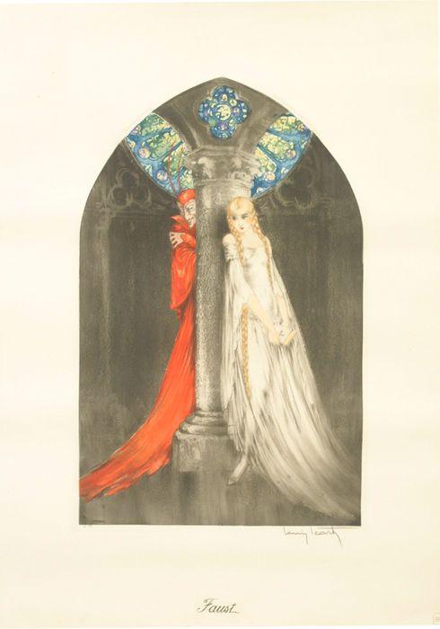 Louis Icart (1888-1950) - 'Faust' - ca. 1928  Afmetingen: De maat is 540 x 350mm - Lijstmaat is ongeveer 64 x 43 cm en met glas in een bladgoud en zwart frame. Conditie: Deze ets verkeerd in excellente conditie. Louis Icart - originele 'Faust' ets. Ets en droge naald afgewerkt met de hand kleuring circa 1928 gesigneerd en genummerd uit een oplage van 331 in potlood met blindstamp rechterbenedenhoek (windmolen) van de kunstenaar; Taxatie 1100-Aangepaste reserved prijs.Boven op de boog…