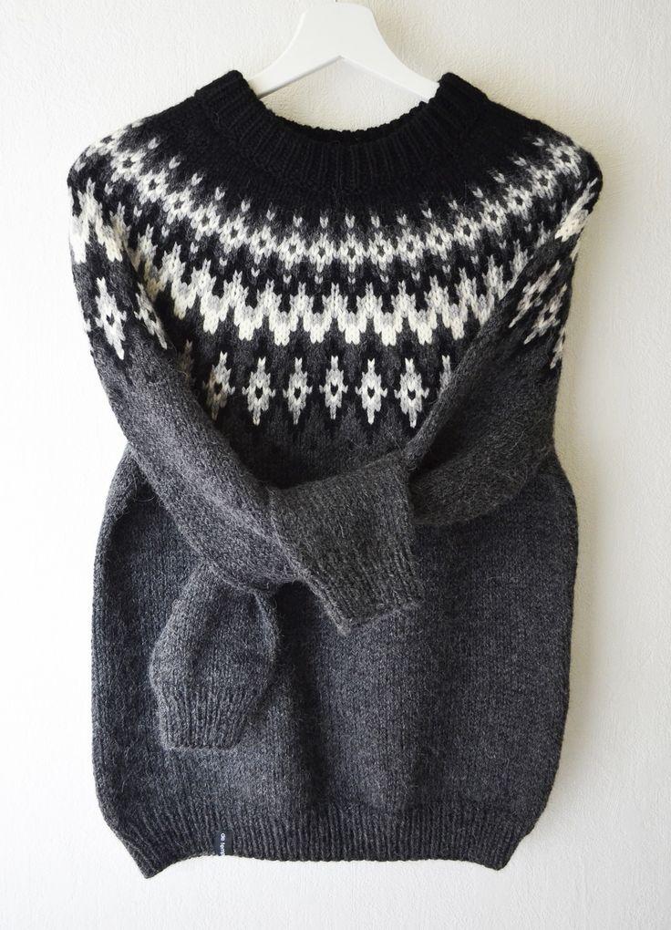 Pull tricoté main laine alpaga jacquard style islandais lopapeysa