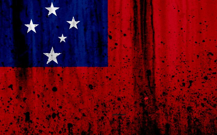 Download wallpapers Samoa flag, 4k, grunge, flag of Samoa, Oceania, Samoa, national symbols, Samoa national flag