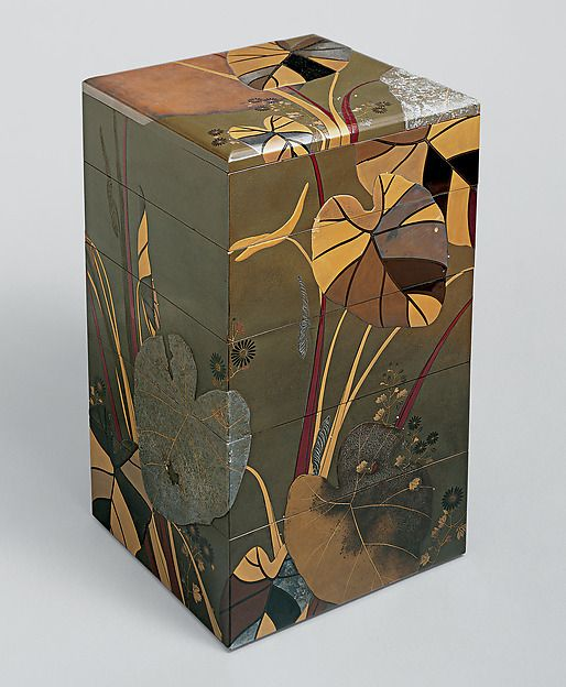 """Shibata Zeshin (Japanese, 1807–1891). Stacked Food Box (Jūbako) with Taro Plants and Chrysanthemums,  mid-19th century.  Late Edo (1615–1868)–Early Meiji (1868–1912) period. Japan. The Metropolitan Museum of Art, New York. Mary Griggs Burke Collection, Gift of the Mary and Jackson Burke Foundation, 2015 (2015.300.289a–g)   