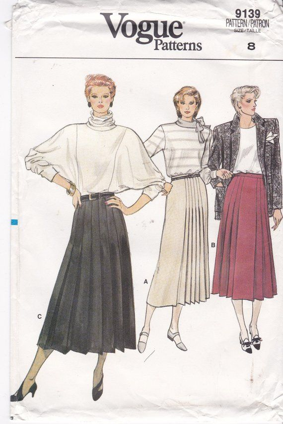 Slightly Flared Pleated Skirts Patterns Mid-Calf Length Normal Waistline  Side Zipper Vogue Sewing Pattern 9139 Misses  Size 8 Waist 24 Uncut 16dbc1569