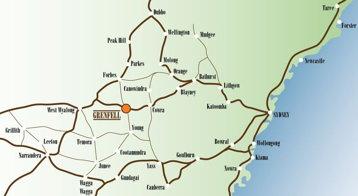 Map for you funsters. Getting to Grenfell is easy! See you @ the 55th Annual Grenfell Henry Lawson Festival of Arts. :)