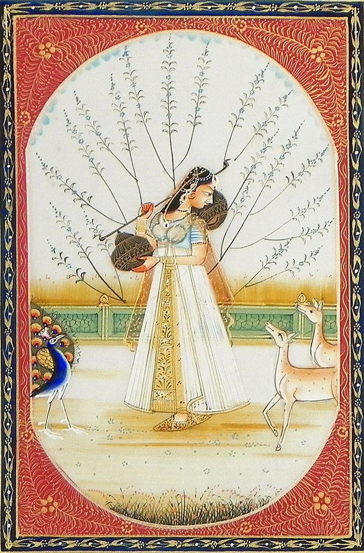 Ragini+Kakubha+(Miniature+Painting+on+Silk+Cloth+-+Unframed)