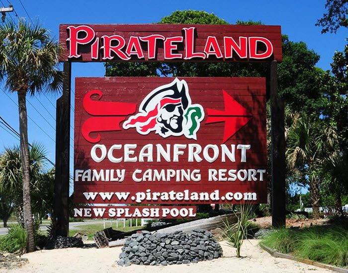 PirateLand Oceanfront Family Camping Resort - Myrtle Beach, South Carolina - The Myrtle Beach area offers campers a choice of nearly a dozen campgrounds, two state parks, and more than 7,000 camping sites.  Click on the pin for more info.