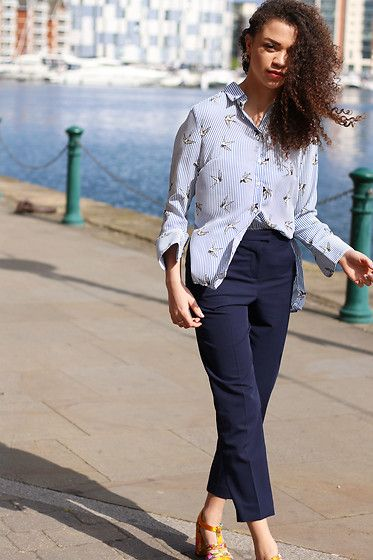 Get this look: http://lb.nu/look/8707545  More looks by Charnelle Gardiner: http://lb.nu/charnellegeraldine  Items in this look:  New Look Stripe Bird Print Shirt, New Look Navy Tailored Trousers, New Look Brocade Heels   #chic #classic #romantic #tailored #tailoring #springtailoring #tonal #navy #lightblue
