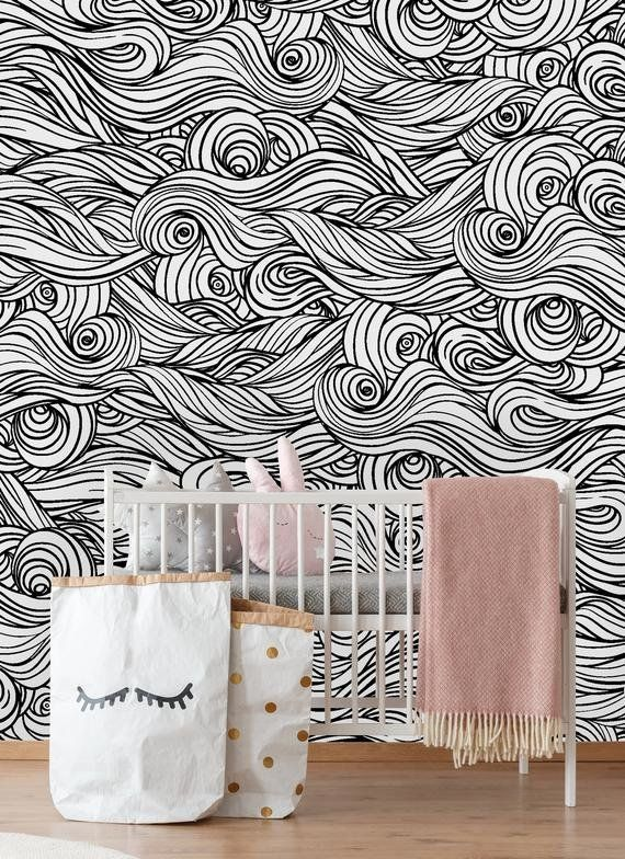 Zacharias Removable Wave 4 17 L X 25 W Peel And Stick Wallpaper Roll Removable Wallpaper Peel And Stick Wallpaper Wallpaper Roll