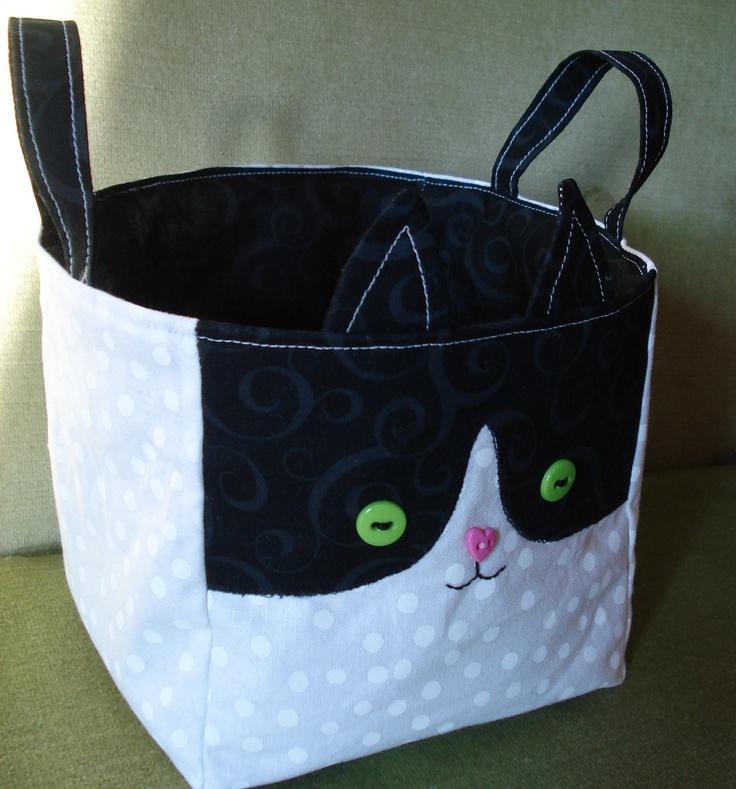 KarmaCat Custom TUXEDO CAT BASKET - Kitty Fabric Storage Cube - you pick colors. $15.00, via Etsy.