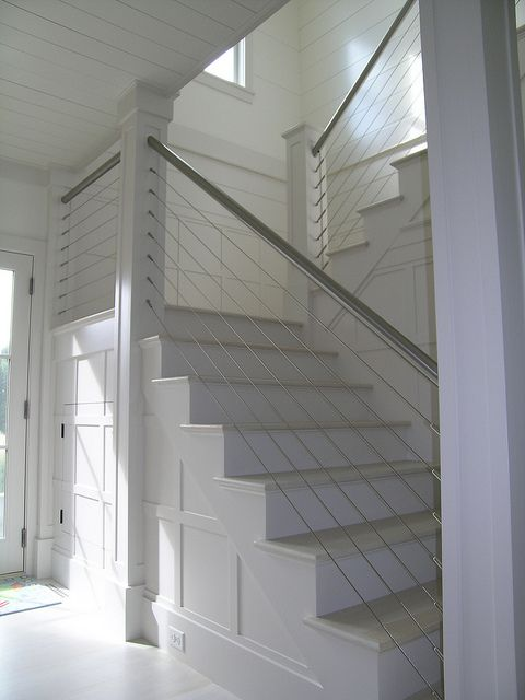 indoor stairs w/ cable-rail...cable rail and plank walls,  could I be overdoining the horizontal stripes?