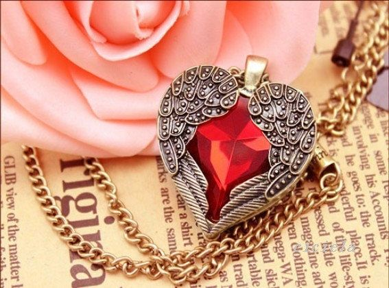Gold Wings Crystal Red Heart Pendant Necklace