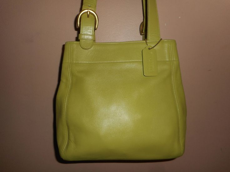 """VINTAGE COACH 10"""" x 9"""" Green Leather Buckle Bag/Shoulder Tote Bag #K6C-4157 USA by COACHCROSSING on Etsy"""
