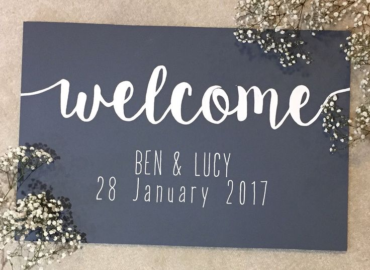 GREY WEDDING / Welcome Sign / hand painted / wooden signs / Painted by Katie on Etsy