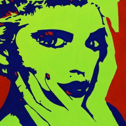 Popart canvas madonna colours red green acrilycs