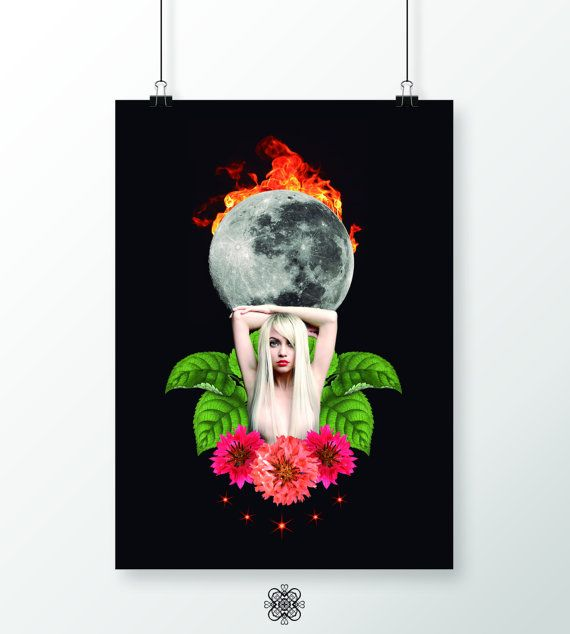 Contemporary art On fire poster Instant download por LehaimDesign