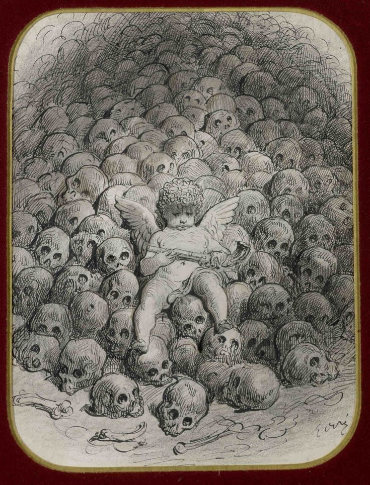 Gustave Doré - Cherub with gun on a pile of skulls, Love reflects on Death (XIX century). Private collection.