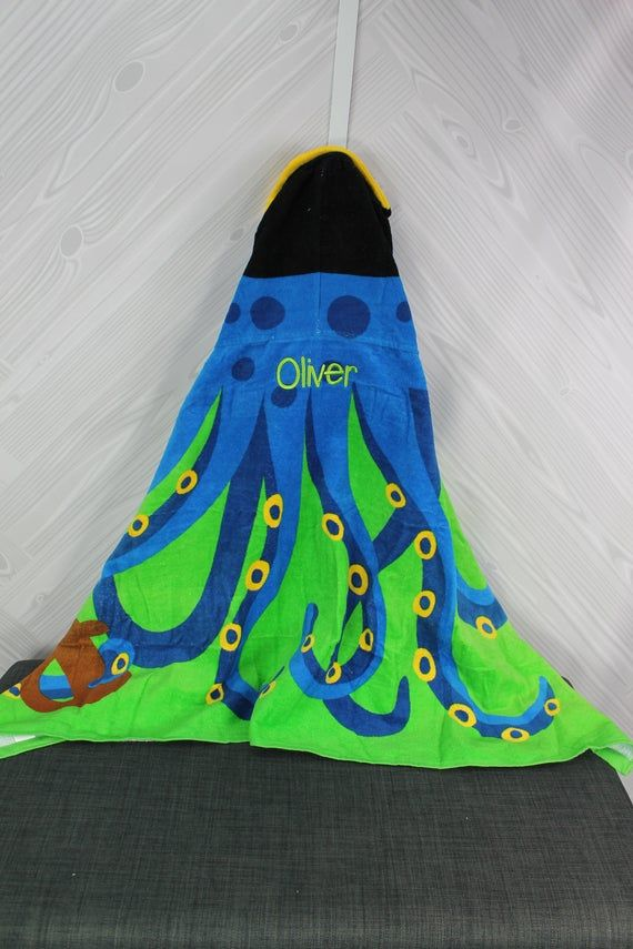 Octopus Hooded Beach Towel Toddler Kids Free Personalization