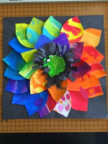 Remember all that paper we've been painting? We are putting it to good use this week in second grade!! I love these beautiful bold flowers!!...