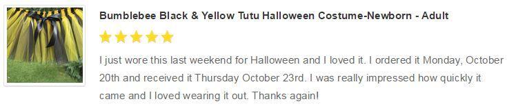 Bumblebee Black & Yellow Tutu Halloween Costume-Newborn - Adult