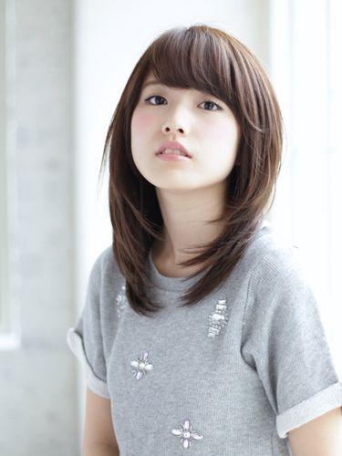 丸顔さんの♡ミディアムストレートヘアカタログ♡黒髪→明るめまで