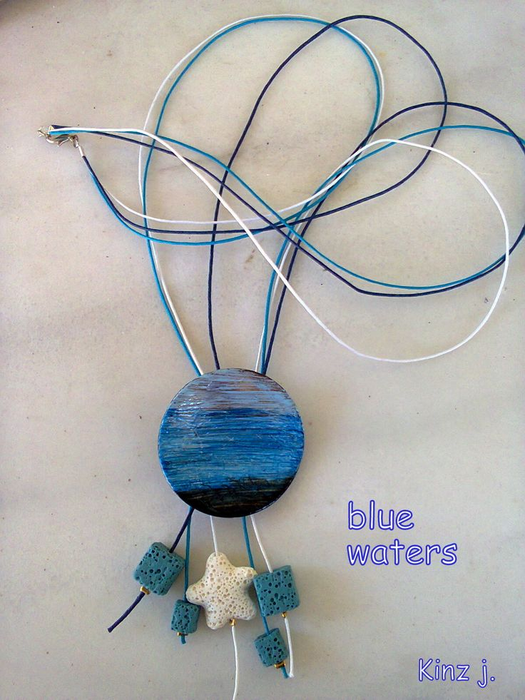 painted button lava beads long necklace/KINZ jewelry